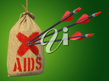 AIDS - Three Arrows Hit in Red Target Hanging on the Sack on Green Background.