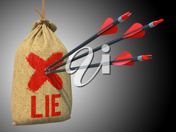 Lie - Three Arrows Hit in Red Target Hanging on the Sack on Grey Background.