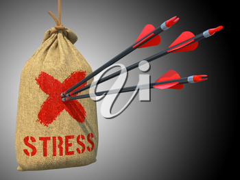 Stress - Three Arrows Hit in Red Target Hanging on the Sack on Grey Background.