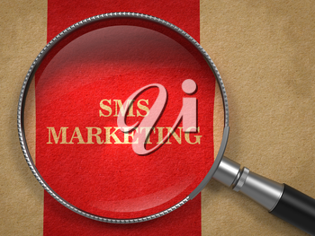 SMS Marketing through Magnifying Glass on Old Paper with Red Vertical Line.