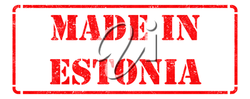 Made in Estonia inscription on Red Rubber Stamp Isolated on White.