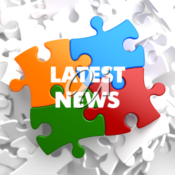 Latest  News on Multicolor Puzzle on White Background.