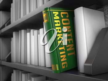Content Marketing - Green Book on the Black Bookshelf between white ones.