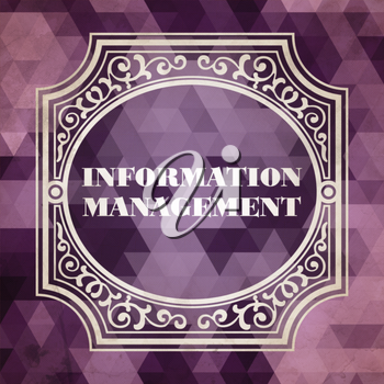 Information Management Concept. Vintage design. Purple Background made of Triangles.