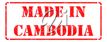 Made in Cambodia - inscription on Red Rubber Stamp Isolated on White.