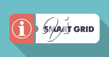 Smart Grid in Flat Design with Long Shadows on Turquoise Background.