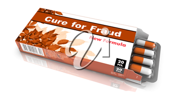 Cure for Fraud - Orange Open Blister Pack Tablets Isolated on White.