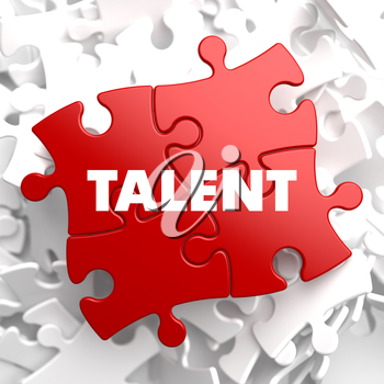 Talent on Red Puzzle on White Background.
