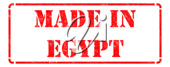 Made in Egypt - inscription on Red Rubber Stamp Isolated on White.