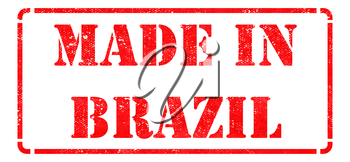 Made in Brazil - inscription on Red Rubber Stamp Isolated on White.