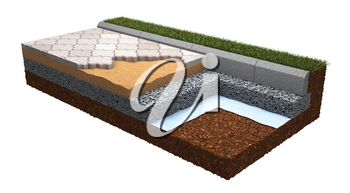 Technology of Paving Laying - demonstration model. Building Concept.