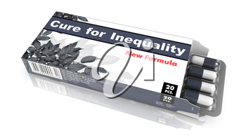Cure for Inequality - Orange Gray Blister Pack Tablets Isolated on White.