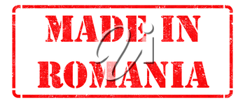 Made in Romania - Inscription on Red Rubber Stamp Isolated on White.