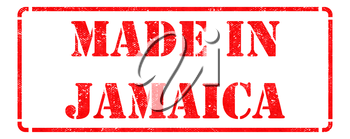 Made in Jamaica - Inscription on Red Rubber Stamp Isolated on White.