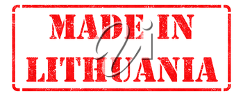 Made in Lithuania - Inscription on Red Rubber Stamp Isolated on White.