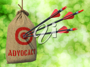 Advocacy - Three Arrows Hit in Red Target on a Hanging Sack on Green Bokeh Background.
