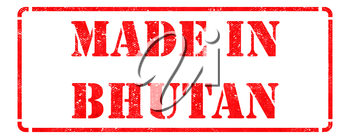 Made in Bhutan inscription on Red Rubber Stamp Isolated on White.