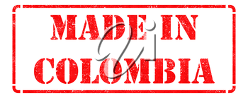 Made in Colombia inscription on Red Rubber Stamp Isolated on White.