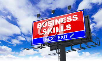 Business Skills Inscription on Red Billboard on Sky Background.