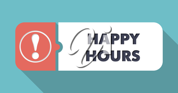 Happy Hours  in Flat Design with Long Shadows on Turquoise Background.