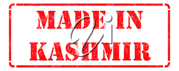Made in Kashmir - Inscription on Red Rubber Stamp Isolated on White.