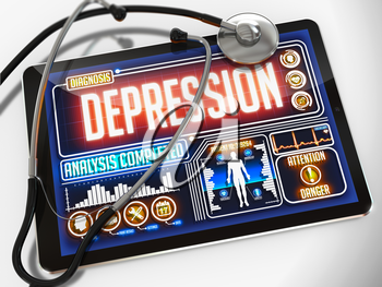 Medical Tablet with the Diagnosis of Depression on the Display and a Black Stethoscope on White Background.