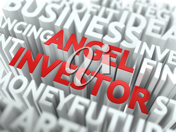 Angel Investor - Red Word on White Wordcloud Concept.