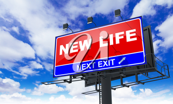 New Life - Red Billboard on Sky Background. Business Concept.