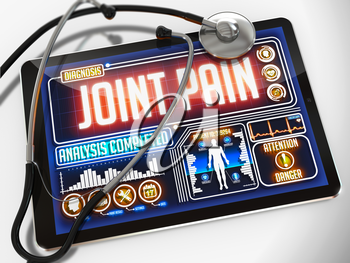 Medical Tablet with the Diagnosis of Joint Pain on the Display and a Black Stethoscope on White Background.