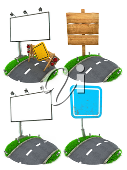 Blank Road Sing Concepts - Set of 3D  Illustrations Isolated on White Background.
