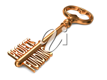 Projects Funding - Golden Key on White Background. Business Concept.