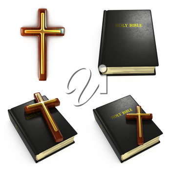 Religious Concepts - Set of 3D Bible and Cross.