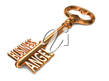 Business Angel - Golden Key on White Background. Business Concept.