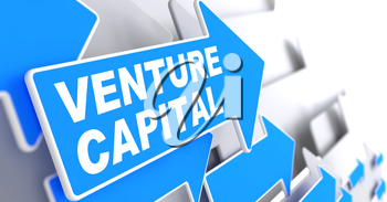 Venture Capital on Direction Sign - Blue Arrow on a Grey Background.
