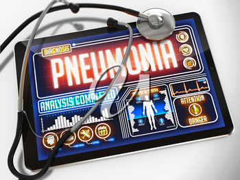 Pneumonia - Diagnosis on the Display of Medical Tablet and a Black Stethoscope on White Background.