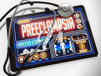 Medical Tablet with the Diagnosis of Preeclampsia on the Display and a Black Stethoscope on White Background.