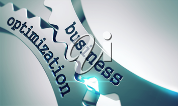 Business Optimization on Gears Mechanism on a Gray Background.
