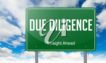 Highway Signpost with Due Diligence wording on Sky Background.