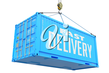 Fast Delivery - Blue Cargo Container hoisted by hook, Isolated on White Background.