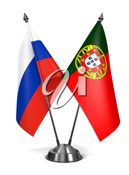 Russia and Portugal - Miniature Flags Isolated on White Background.