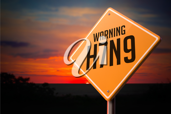 H7N9 on Warning Road Sign on Sunset Sky Background.
