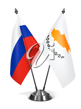 Russia and Cyprus - Miniature Flags Isolated on White Background.