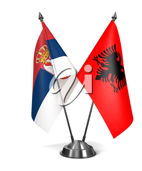 Albania and Serbia - Miniature Flags Isolated on White Background.