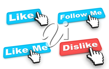 Like Concept. Blue Web Buttons with Hand Cursor Isolated on White Background.