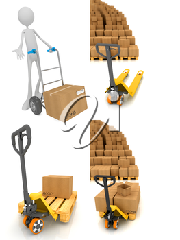 Pallet Truck and Cardboard Boxes - Set of 3D Isolated on White Background. Warehouse Concept.