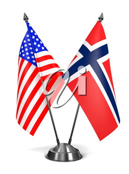 USA and Norway - Miniature Flags Isolated on White Background.