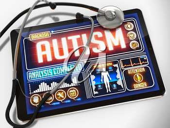 Autism - Diagnosis on the Display of Medical Tablet and a Black Stethoscope on White Background.