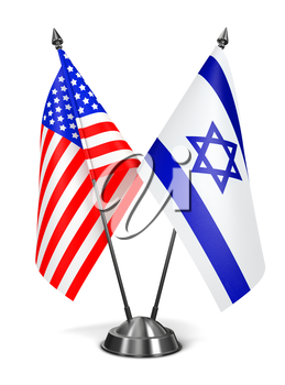 USA and Israel - Miniature Flags Isolated on White Background.