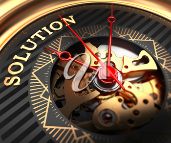 Solution on Black-Golden Watch Face with Closeup View of Watch Mechanism.