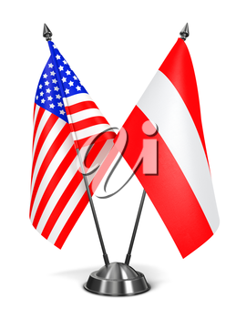 USA and Austria - Miniature Flags Isolated on White Background.